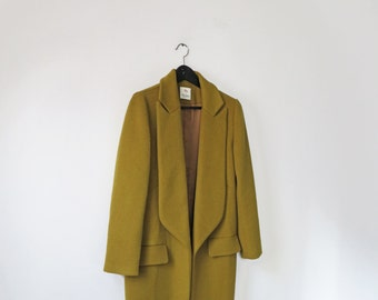 Acid olive green open-front wool coat with wide peak lapel (double-face fabric)