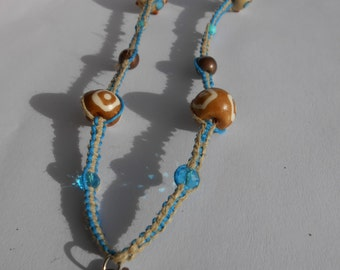 Owl Hemp Necklace with Sodalite Beads