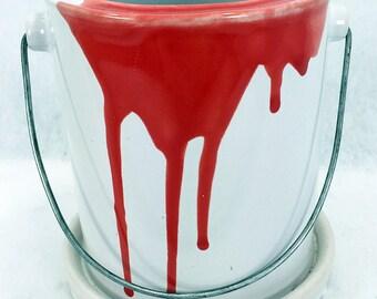 """Glazed Ceramic Paint Can Pot/Saucer - Red - 4 1/2"""" x 4 1/2"""" + Felt Feet"""