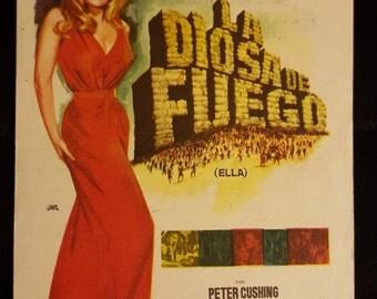 Original 1965 She Spanish Herald Movie Poster Hammer, Ursula Andress, Christopher Lee