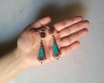 30% off Turquoise and Coral Earring/Stone Earring/Silver Earring/Statement Earring/Tibetan Jewelry/Tribal Jewelry/Gypsy Earring