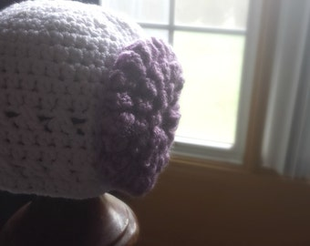Crochet White Baby Hat with Lavender Flower