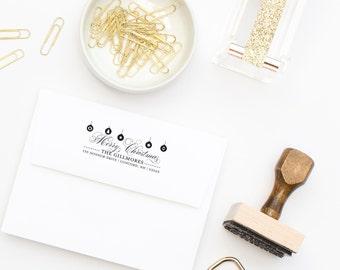 Return Address Stamp, Christmas Card Stamp, Holiday Stamp, Merry Christmas Stamp, Self-Inking Stamp, Rubber Stamp, Custom Address Stamp #40