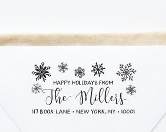 Return Address Stamp, Christmas Card Stamp, Holiday Address Stamp, Snowflake Stamp, Self-Inking Stamp, Custom Address Stamp Style No. 112