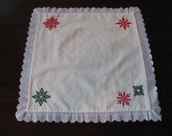 Cross-Stitched Snowflake Doily, Christmas Doily, Handmade, FREE SHIPPING