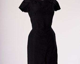 Vintage 60s Dress Black Taffeta Retro Pinup Rockabilly Pin Up Wiggle Dress Womens Medium