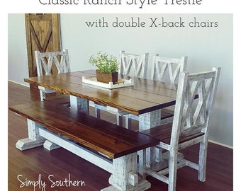 Amazing Classic Ranch Style Trestle Style Farmhouse Table