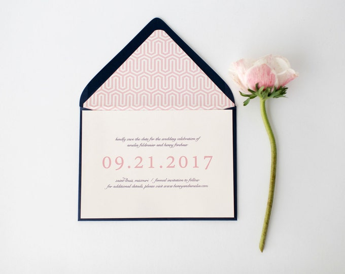 amelia save the date invitation (sets of 10)  //  classic custom pink navy geometric calligraphy romantic modern invite