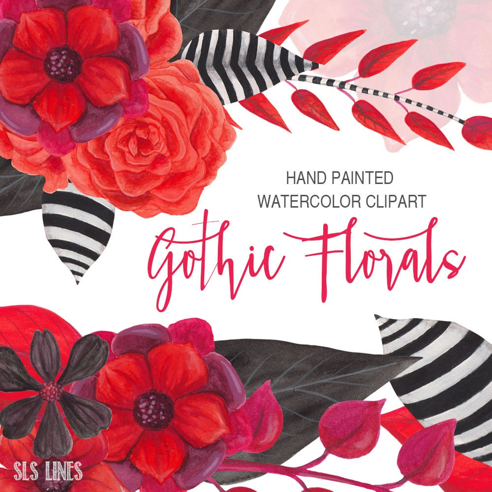Dark Red Roses Flowers Watercolor Botanical Art Boho: Gothic Watercolor Floral Clipart Black And Red Flowers Hand