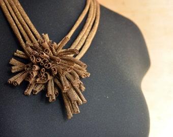 Golden Textile Statement Necklace - Multi Strand - Hand Stitched Fringe
