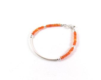Bracelet 925 half-ring and faceted gemstones of Cornaline