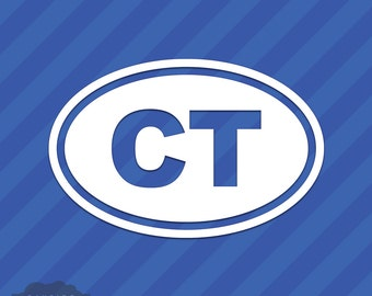 Connecticut CT Oval Vinyl Decal Sticker