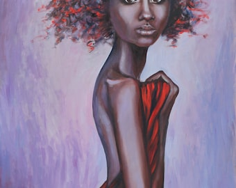 Oil Painting Portrait of Young Woman Original Artwork Home Decor Wall Hanging Art Figurative Woman Red 50x70cm