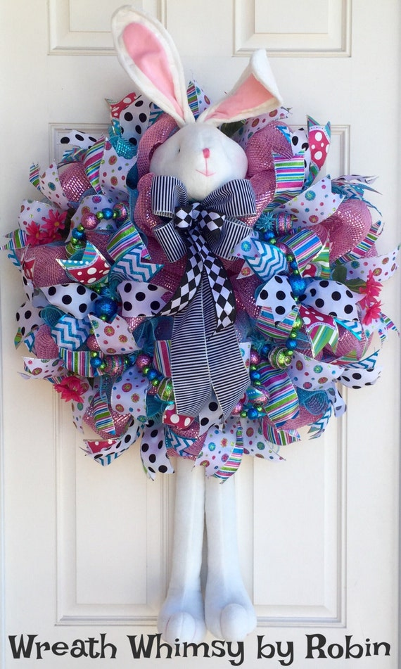 XL Turquoise & Pink Easter Bunny Deco Mesh Wreath Spring