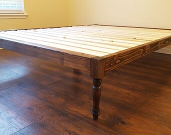 Platform Bed, Bohemian Bed, Turned Leg Bed, Turned Leg Platform Bed, Bohemian Style, Low Profile Bed, Boho Bed, Boho