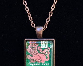 Vietnam Postage Stamp Necklace