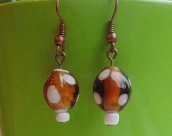Amber & White Spotted Lampwork Earrings - Three Designs