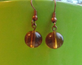 Clear Amber Lampwork Earrings - Three Designs