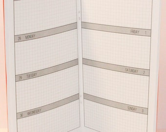 2016-2017 Week on Two Pages Grid Planner {Standard Size} Academic Year Traveler's Notebook Insert Booklet