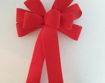 "Set of 10 Medium 6"" Hand Made Red Velvet Christmas Bows - Indoor/Outdoor - Wreath Ribbons Holiday"