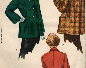 Vintage 1950s Simplicity Sewing Pattern 2949- Misses' Topper, Coat, Jacket size 14 bust 32
