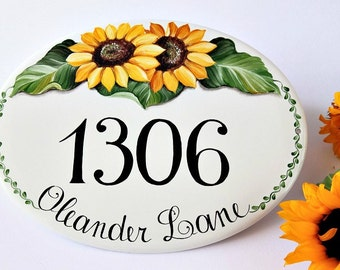 Home decor Sunflowers Hanging number sign, Hanging Address sign, House numbers sign,  Custom House numbers