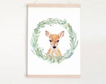 Fawn in wreath - Children's art. Watercolor baby deer. A4 Print
