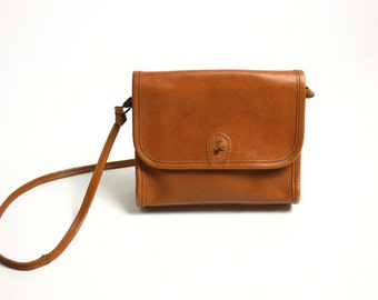 Vintage 70's 80's Camel Brown Real Leather Small Messenger Bag Purse