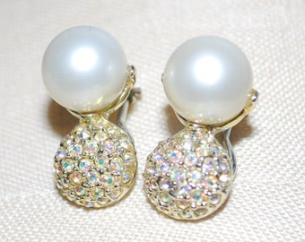vintage pearl cubic zirconia clip on earrings fashion jewelry gold toned