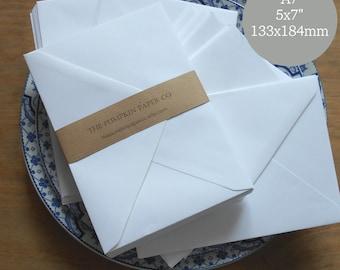 "100 5x7 Envelopes A7 Envelopes White Wedding Envelopes Bulk Envelopes for invitations card making supplies True size 5.1/4x7.1/4"" 133x184mm"