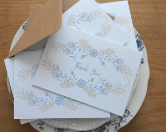 Thank You Note Cards Floral Thank You Cards 5pk Thank You Card Set & envelopes Thank You Cards with blue floral flower rustic wedding