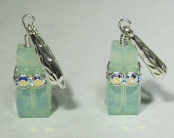 Mint Green Earrings, Sterling Silver, Swarovski Crystal Cube Earrings, Light Green Crystal Earrings,