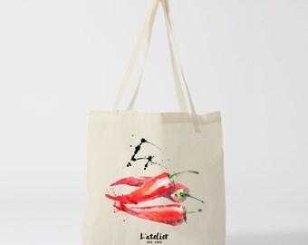 X156Y Tote bag Chili, handbag, shopping bag, computer bag, bag, diaper bag, tote bag, cotton bag, food illustration, SIAs course