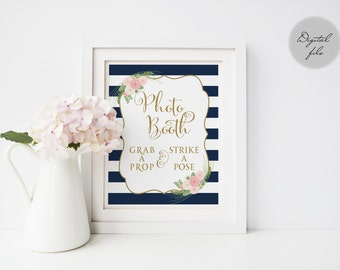 Printable wedding Photo Booth sign, Navy striped Photo Booth sign printable, Photo booth poster Instant download, The Shirley collection