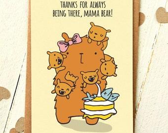 Mum Birthday Card - Mum Card - Mom Card - Mom Birthday Card - Thank You Mom - Thank You Mum - Mama Bear - Cute Birthday Card