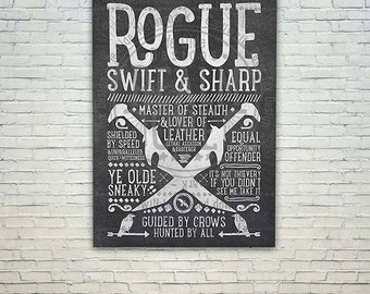 World of Warcraft / Roleplaying Medieval / Fantasy Inspired Type Poster - ROGUE Edition