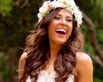 Flower crown. Wedding hair piece. Floral hair accessory. Bridal crown. White or pink flower headband. Boho hair. Coachella bridal crown