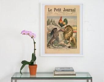 le petit journal archival print, le petit journal cover art print, antique newspaper cover art,  cover art, french newspaper art