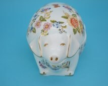 Vintage Aynsley Pig Trinket Box China Cottage Garden Pattern Flowers Butterflies Unique Gift Idea Collectible Piece Home Decor!