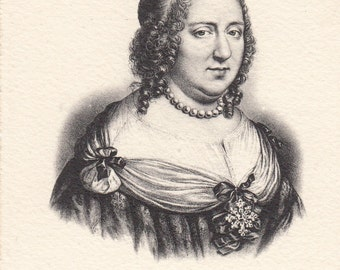 Historical French vintage etchings engravings postcard 1906. French History. Anne d' Autriche.