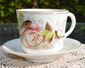 Gentleman's Moustache Tea Cup and Saucer - Large Breakfast Cup with Guard - Hand Painted Rose Flower Motif Pattern C.1880 - 1910
