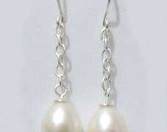 Made to Order 6-7mm Freshwater White Rice Pearl Drop Earrings
