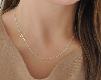 Sideways Cross Necklace -  Sterling Silver - On The Side - Small - Dainty - Minimalist - Delicate - Simple - Off Centered
