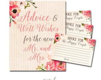 Bridal Shower Advice Cards, Bridal Shower Wishes Cards, Bridal Shower Printable INSTANT DOWNLOAD