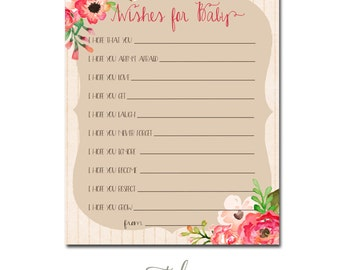 Wishes for Baby Printable - Flowers Girl Baby Shower Digital File INSTANT DOWNLOAD