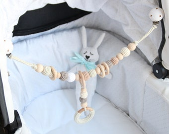 NEW Crochet Baby stroller chain / Car seat chain / Pram chain / Organic and natural / Beads are safe for teething / Stylish teething ring