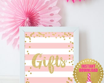 Printable Gifts Sign 8x10, INSTANT DOWNLOAD, Pink and Gold Gifts Sign, Gifts Table Sign, Pink and Gold Sign, Party Decor, Printable