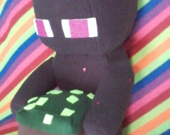 Minecraft Enderman with a block plushie