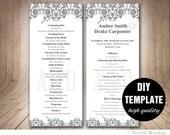 Printable Wedding Program Template DIY Instant Download,Black and White Wedding Program,Elegant Program,Grey Wedding Program,Silver Wedding