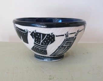 Sgraffito Carved Porcelain Small Bowl with Laundry Line